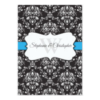 Black White Blue Damask Wedding Invitation