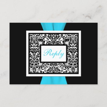 Black, White, Blue Damask with FAUX Ribbon RSVP
