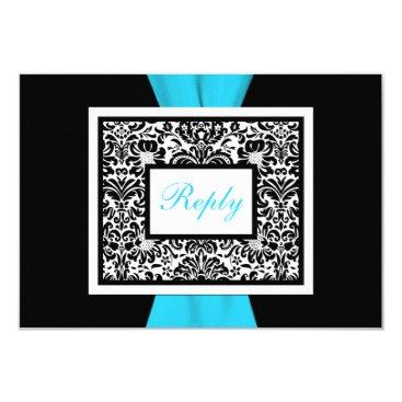 Black, White, Blue Damask with FAUX Ribbon RSVP Card