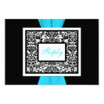 Black, White, Blue Damask with FAUX Ribbon RSVP Personalized Announcements