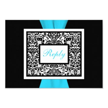 Black, White, Blue Damask with FAUX Ribbon RSVP Invitation