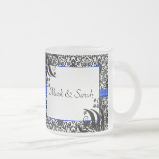 Black, White, & Blue Floral Damask Frosted Glass Coffee Mug