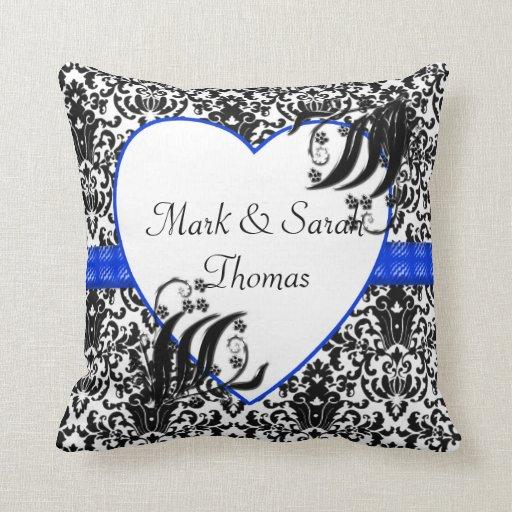 Damask Throw Pillows Black White : Black, White, & Blue Floral Damask Throw Pillows Zazzle