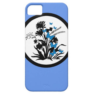 Black white blue flower butterfly iphone 5 case