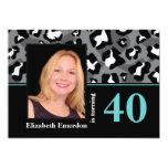Black white blue leopard print 40th birthday photo 5x7 paper invitation card