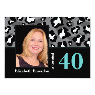 Black white blue leopard print 40th birthday photo card