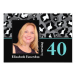 Black white blue leopard print 40th birthday photo personalized announcement