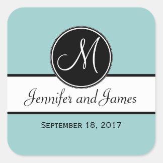 Black White Blue Monogram Wedding Favor Sticker