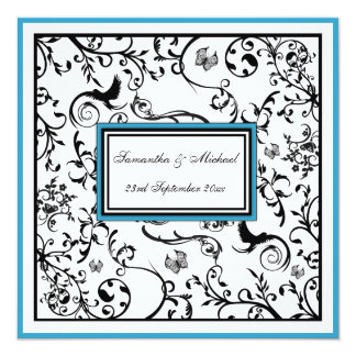"Black, White & Blue Ornate Swirls Wedding Invite 5.25"" Square Invitation Card"