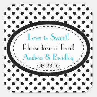 Black White Blue Polka Dot Candy Buffet Wedding Square Sticker