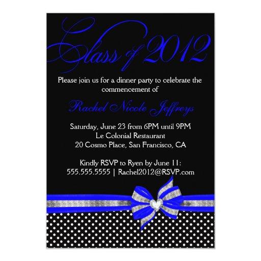 Black White Blue Polka Dot Graduation Invitation