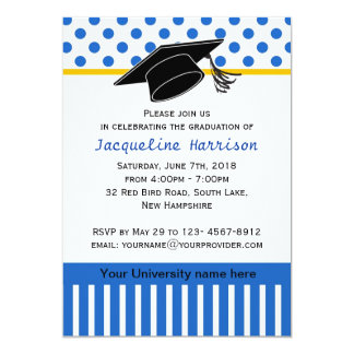 Black white blue polka dot Graduation Party Card