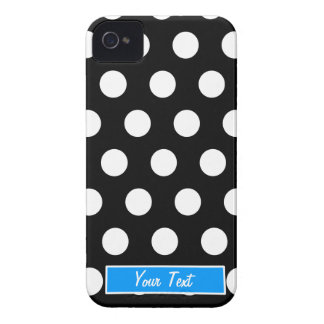 Black/White Blue Polka Dots - Personalize iPhone 4 Case