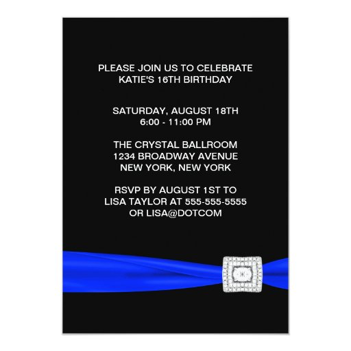 Black White Blue Ribbon Sweet 16 Party Custom Announcement