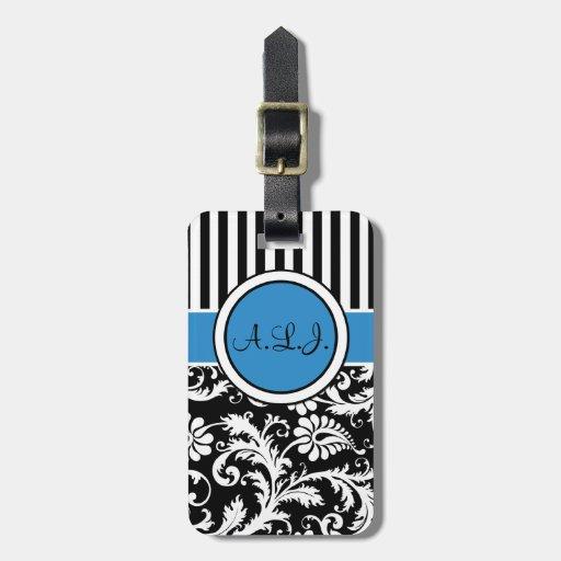 Black, White, Blue Striped Damask Luggage Tag