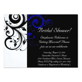 Black, White, Blue Swirl Bridal Shower / General Card