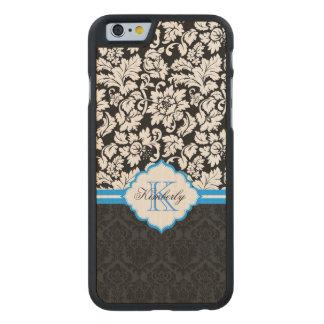 Black White & Blue Vintage Floral Damasks Carved Maple iPhone 6 Case