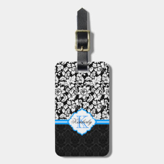 Black White & Blue Vintage Floral Damasks Luggage Tag