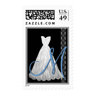 BLACK WHITE BLUE Wedding Dress Monogram tamp Postage Stamp