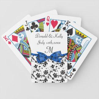 Black White & Blue Wedding Satin Floral Bicycle Playing Cards