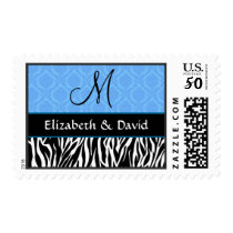 Black White Blue Zebra and Damask Monogram Wedding Postage