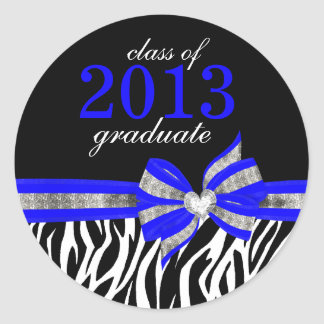 Black White Blue Zebra Graduation Seal Sticker