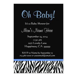 Black White Blue Zebra Print Baby Shower Card