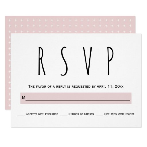Black, white, blush pink typography wedding RSVP Card