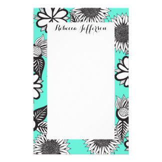 Black White Bohemian Hand Drawn Flowers on Teal Stationery