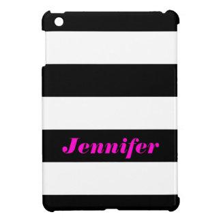 Black White Bold Stripes - Name iPad Mini Case