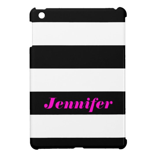 Black White Bold Stripes - Name iPad Mini Case