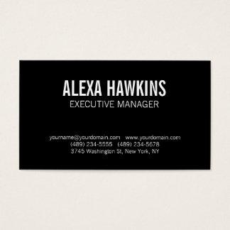 Black White Bold Text Stylish Modern Professional Business Card