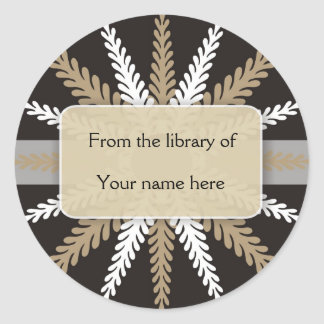 Black White Bookplates-Gold Snowflake Classic Round Sticker