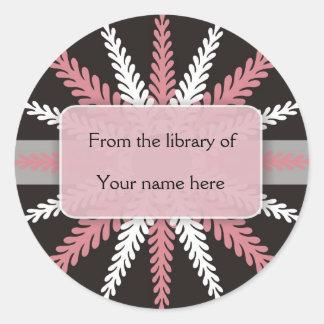 Black White Bookplates-Pink Snowflake Classic Round Sticker