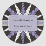 Black White Bookplates-Purple Snowflake Classic Round Sticker