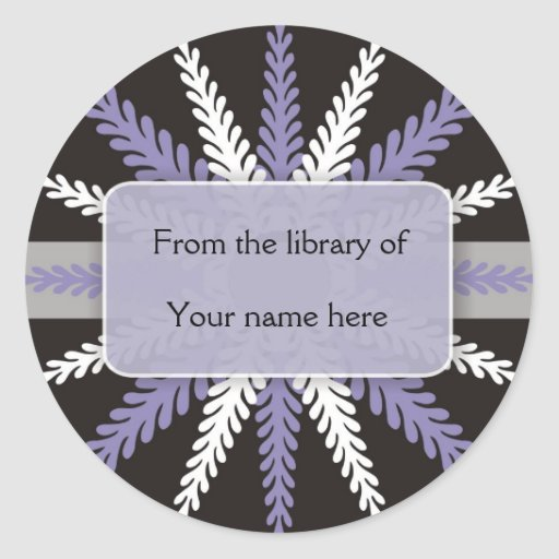 Black White Bookplates-Purple Snowflake Stickers