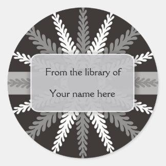 Black White Bookplates-Silver Gray Snowflake Classic Round Sticker