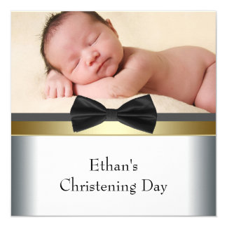 "Black White Bow Tie Baby Boy Photo Christening 5.25"" Square Invitation Card"