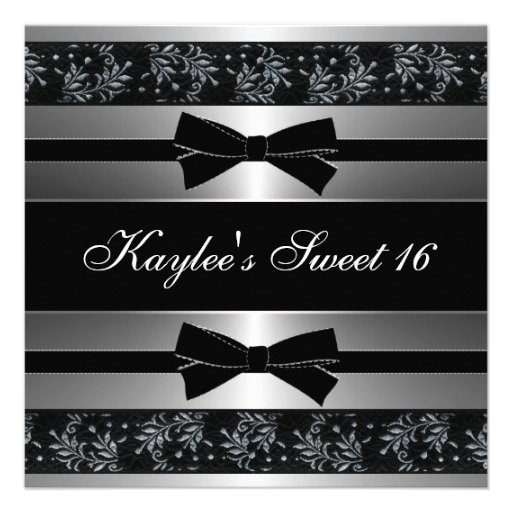 Black White Bows Sweet Sixteen Birthday Personalized Announcements