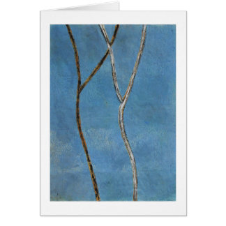 Black & white branches on blue abstract painting cards