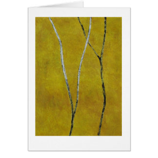 Black & white branches on yellow abstract painting cards