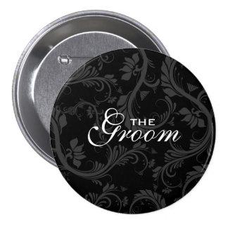 "Black white ""Bridal party"" floral Buttons"