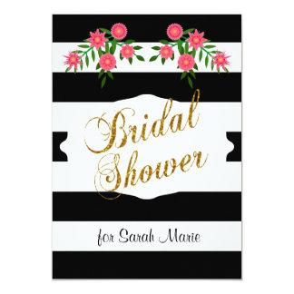 Black & White Bridal Shower | Pink Flowers Card
