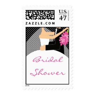 Black/White Bride & Groom Bridal Shower Stamp