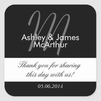 Black White Bride Groom Thank You Wedding Favor Square Sticker