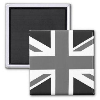 Black & White British Flag 2 Inch Square Magnet