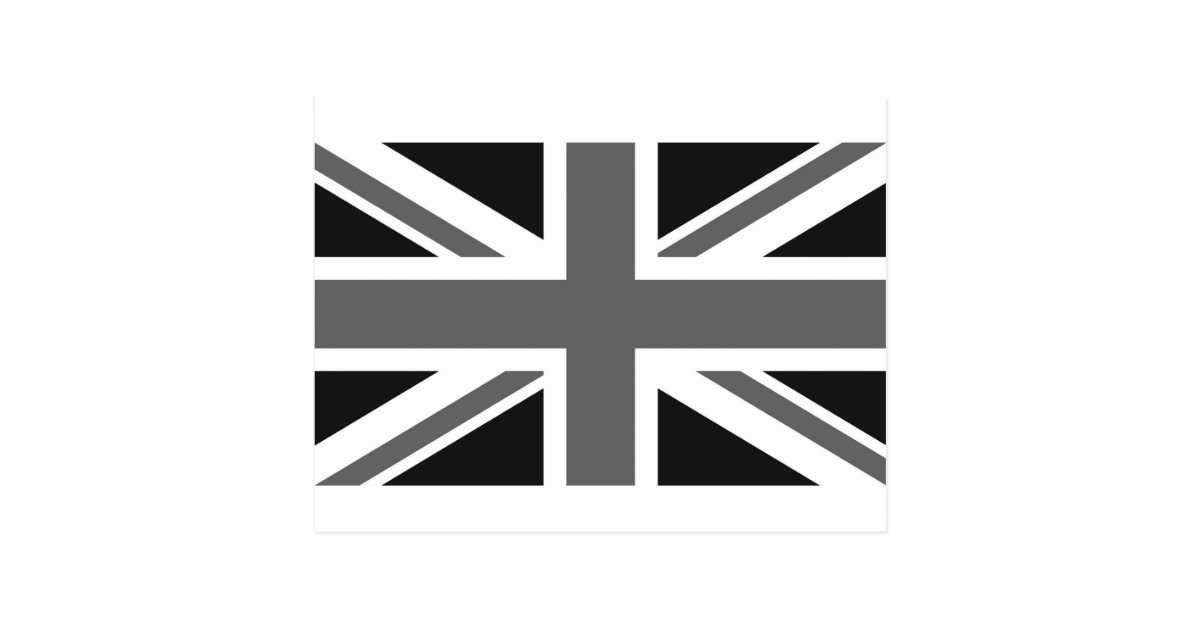 black  u0026 white british flag postcard