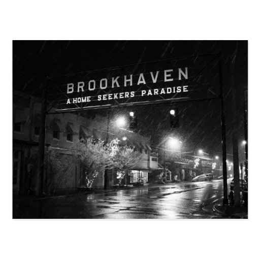 Black & White Brookhaven, Mississippi Town Sign Post Card