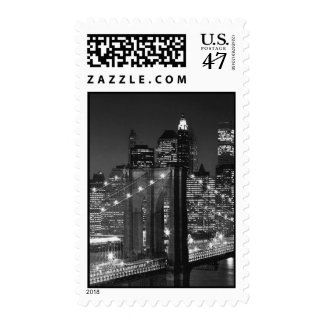 Black & White Brooklyn Bridge at Night Stamp