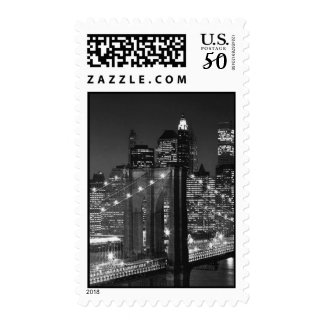 Black & White Brooklyn Bridge at Night Stamp